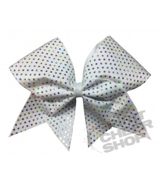 Large cheer bow with polka dots - white