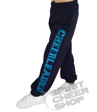 Dětské tepláky s třpytivým potiskem Cheerleader, černé