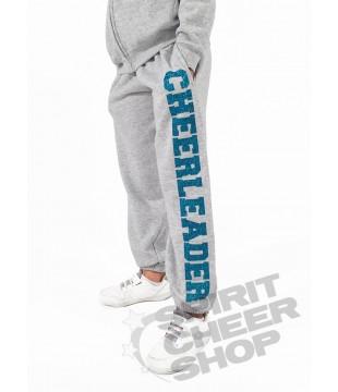 Dětské tepláky s třpytivým potiskem Cheerleader, šedé