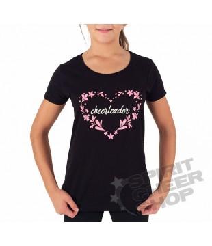 Dámské tričko cheerleader v srdíčku, černé