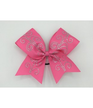 Large cheer bow with Rhinestones - spiral shape pink