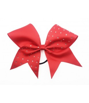 Medium cheer bow with Rhinestones on one half