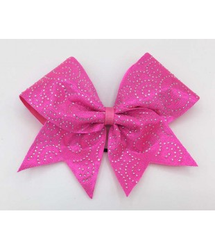 Large cheer bow with Rhinestones - spiral pink