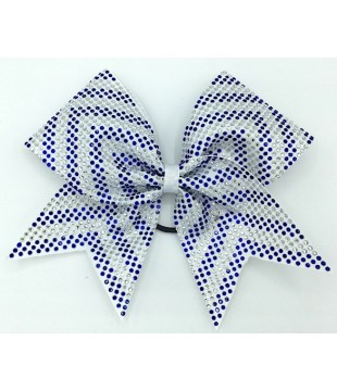 Large cheer bow with rhinestones - arrow white
