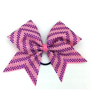 Large cheer bow with rhinestones - arrow pink
