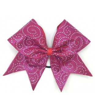 Large cheer bow with Rhinestones - spiral red