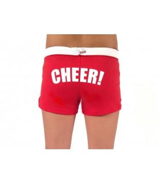 Cheer šortky dětské s potiskem CHEER na zadku - červená