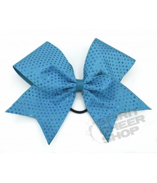 Large cheer bow with polka dots - turquoise