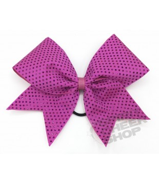 Large cheer bow with polka dots - pink