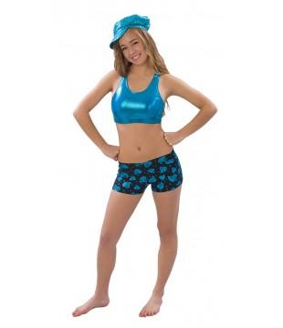 Metalická lesklá sportovní podprsenka Pizzazz dámská modrá
