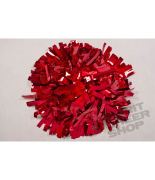 Pompoms - holographic - red 10""