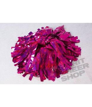 Pompoms - holographic - dark pink 10""
