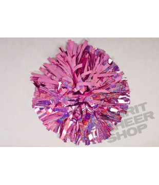 Pompoms - holographic - light pink 10""