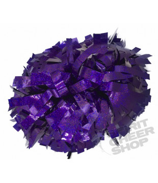 Pompoms - holographic - purple 6""