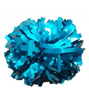 Pompoms - metallic - teal 6""