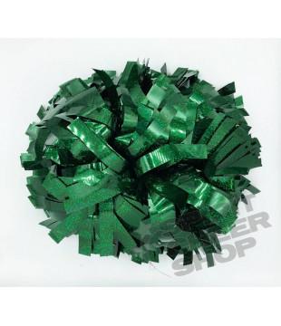 """Pompony holografické tmavě zelená 6"""""""