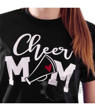 Tričko CHEER MOM černé se srdíčkem
