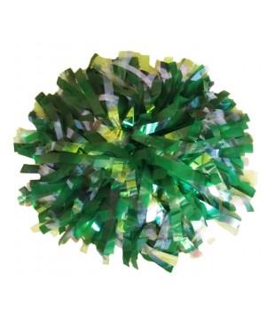 """Pompony MIX Plastic a Duhové proužky 10"""", zelená a Crystal Rainbow"""