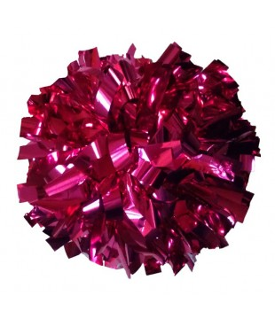 Pompoms - metallic - dark pink 6""