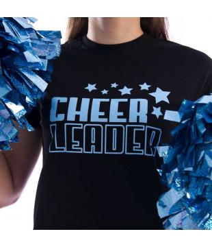 Dámské tričko černé s třpytivým potiskem Cheerleader s hvězdičkami