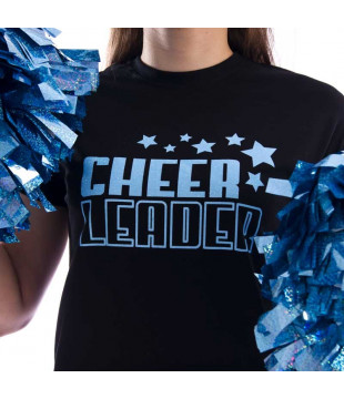 Ladies T-shirt with glitter Cheerleader print with stars