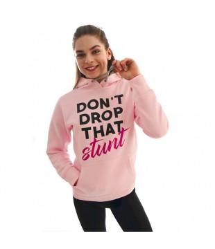 Růžová mikina Don't Drop That Stunt
