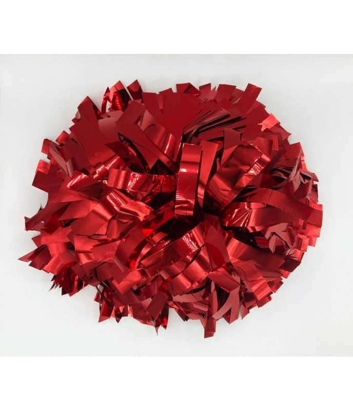 Pompoms - metallic - red 6""