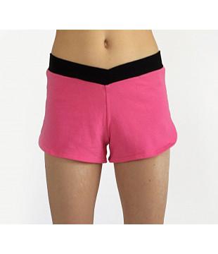 Růžové šortky s černým véčkovým lemem, vel. L