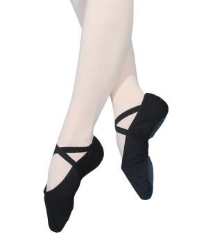 Taneční piškoty látkové s rozdělenou podrážkou - černé