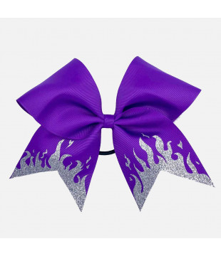 Glitter Flames Cheer Bow