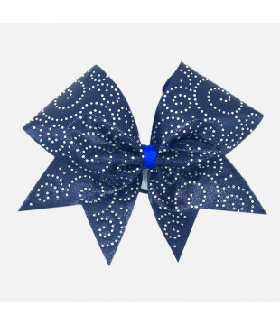 Large cheer bow with Rhinestones - spiral dark blue