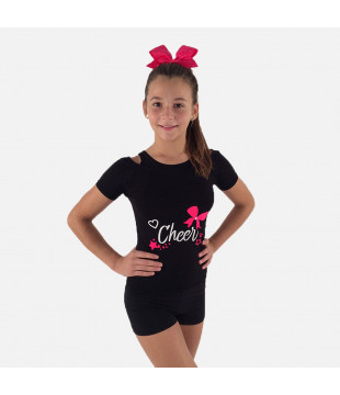 Kids Duo T-shirt - cheer print with bow and stars