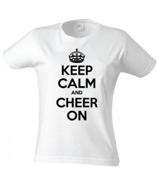 Dámské tričko KEEP CALM AND CHEER ON bílé