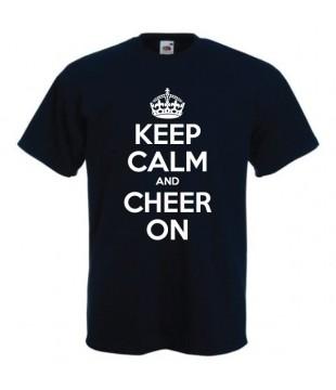 Pánské tričko KEEP CALM AND CHEER ON černé