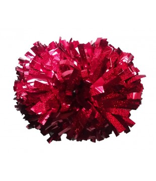 Pompoms - holographic - red 6""