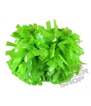 Pompoms - plastic - neon green 6""
