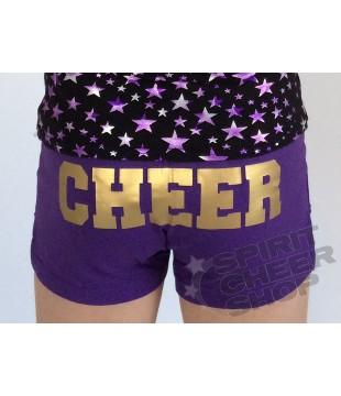 Cheer šortky dětské s potiskem CHEER na zadku - fialová