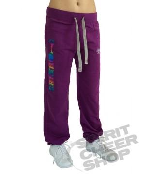 Dívčí tepláky s barevným potiskem CHEER na nohavici, fialové