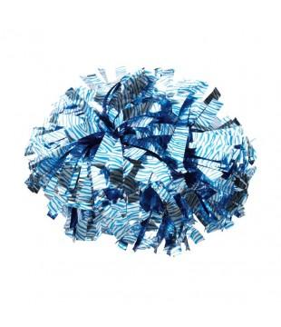 Pompony zebří metalické - stříbrné s modrou zebrou