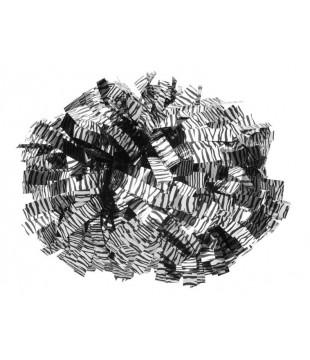 Pompony zebří metalické - stříbrné s černou zebrou